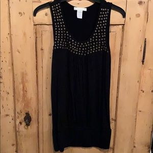 Women's black long tank top with gold studs